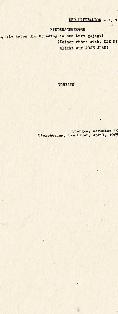 """Copias mecanográficas de las primeras páginas de """"Der Luftballon"""", traducción al alemán de """"El globo"""". Colección ICC – Biblioteca José Manuel Rivas Sacconi."""