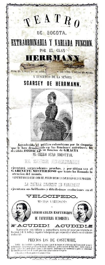 1878. Función a beneficio de Scarsey de Herrman. (Archivo Guillermo Hernández de Alba. Biblioteca Luis-Ángel Arango).