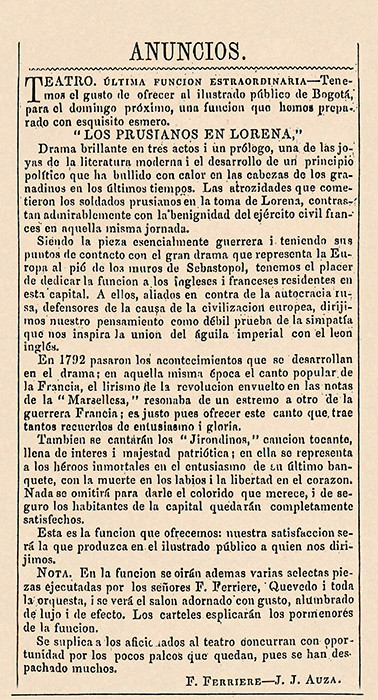 """""""El Tiempo"""" (Bogotá), núm. 33, 14 de agosto de 1855, p. 4."""