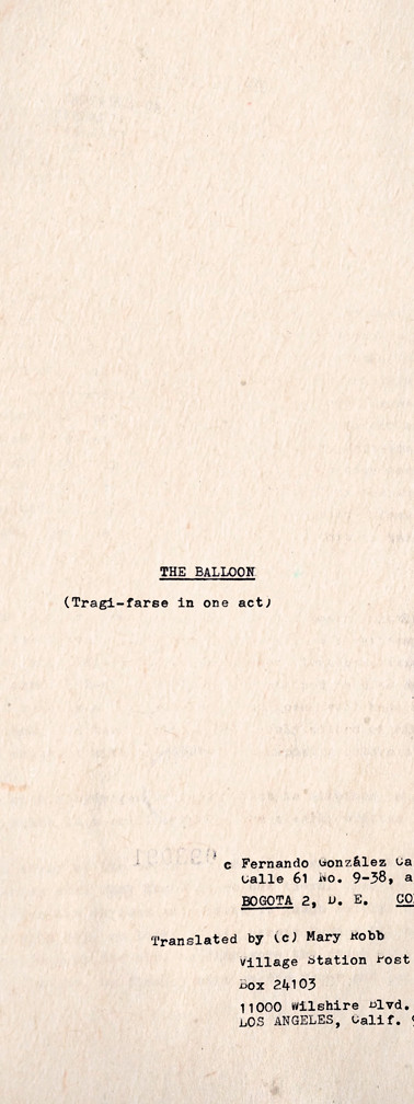 """Copia mecanográfica de la primera página de The Ballon"""", traducción al inglés de """"El globo"""". Colección ICC – Biblioteca José Manuel Rivas Sacconi."""