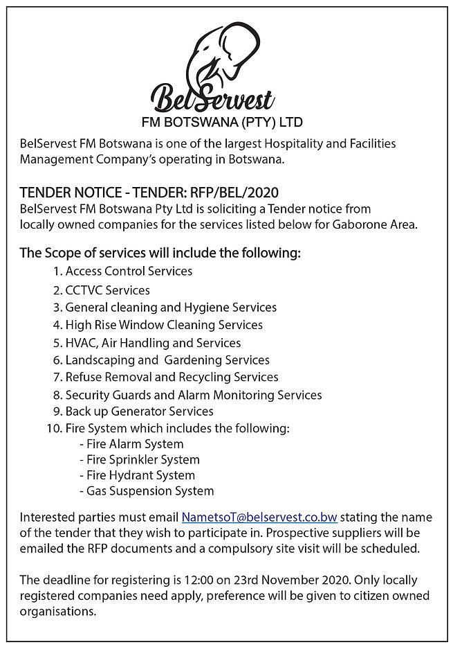 BelServest Tender Notice  - Gaborone Are
