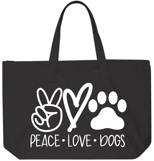 Southern Paws Peace Love & Dogs  Jumbo Tote