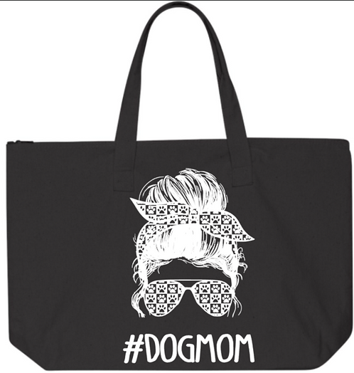 Southern Paws Dog Mom Messy Bun 20in Zipper Tote