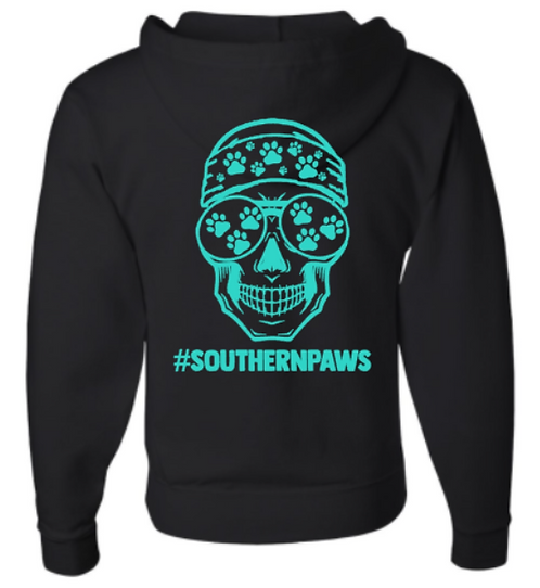 Southern Paws Zip Up Male Skull Hoodie