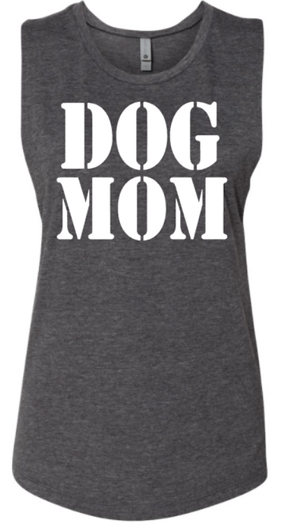 Southern Paws Dog Mom Grey Muscle Tee