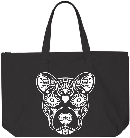 Southern Paws Sugar Skull Pittie 20in Zipper Tote