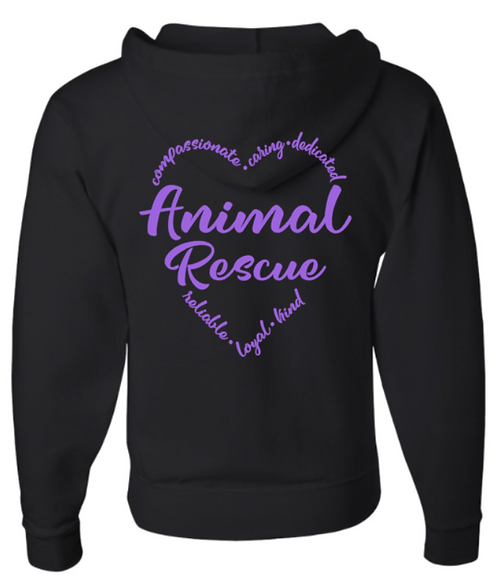 Southern Paws Zip Up Animal Rescue Heart Hoodie