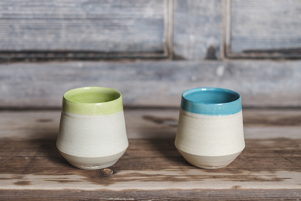 Underglaze cups, perfect for a summer punch!