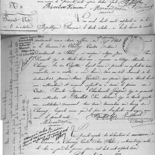 naissance CLAUDE puissant 1871 a Charnay