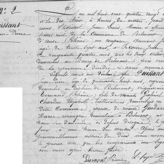 décès jean pierre Puissant 1886 Belmon