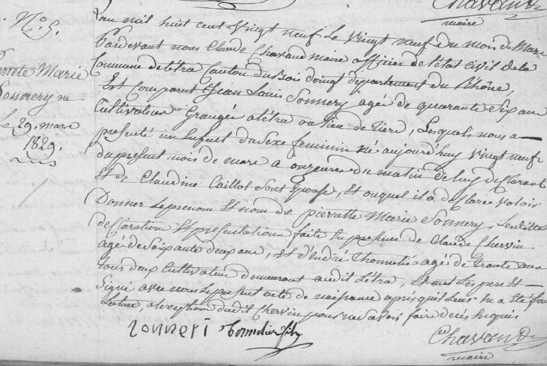 naissance 1829 letra pierrette marie son