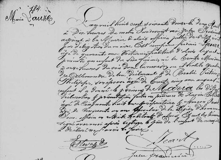 naissance maria lauze 30.03.1872 fille d