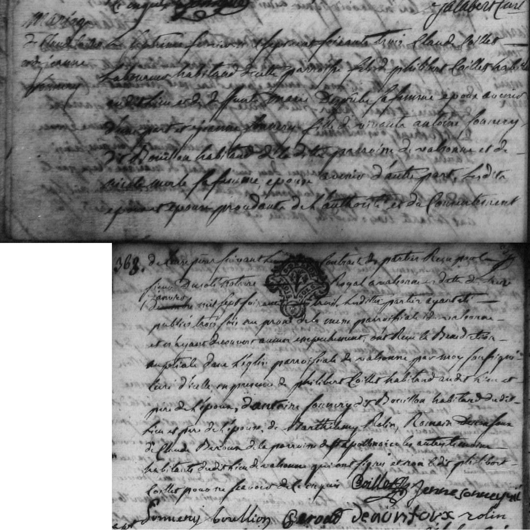 1763 valsonne mariage jeanne sonnery et