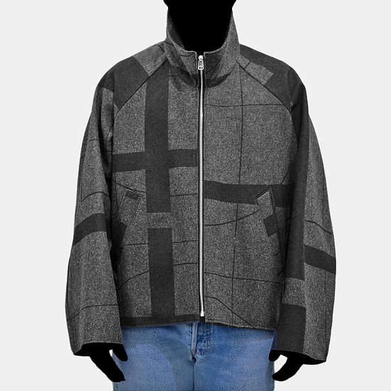 print wool hi-neck zip blouson