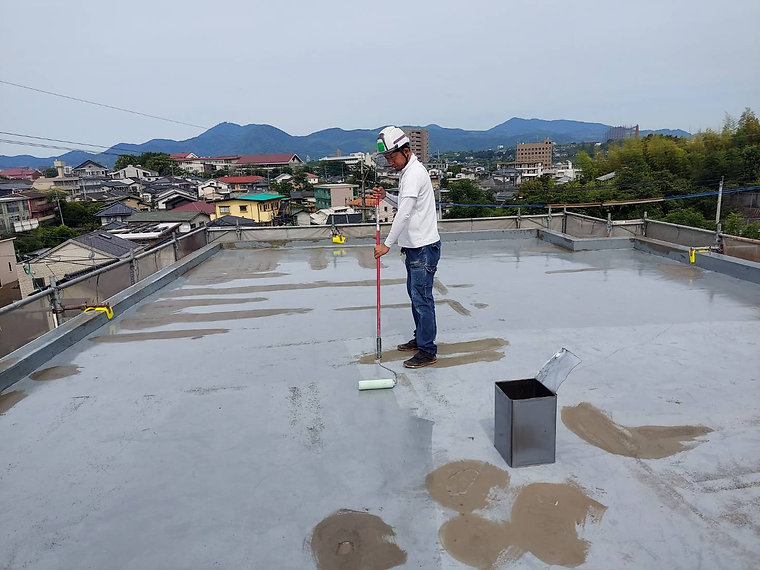 屋上防水工事 熊本県熊本市中央区 プライマー塗布 ペイントデポ