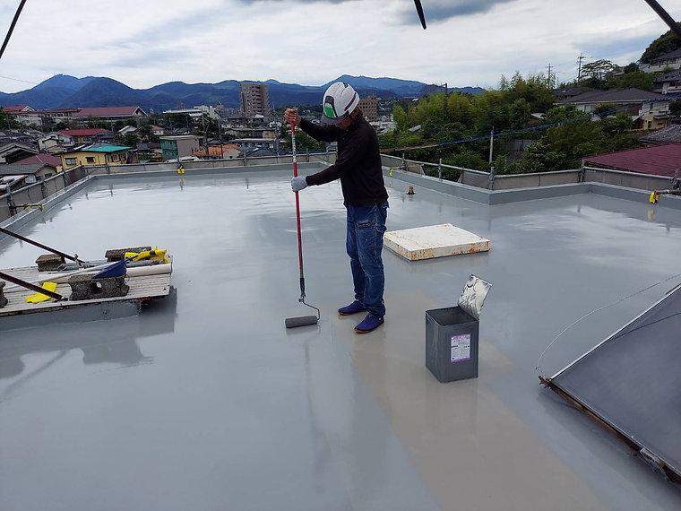 屋上防水工事 熊本県熊本市中央区 トップコート(仕上げ) ペイントデポ