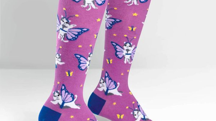 Butterfly Cat| Knee High Socks