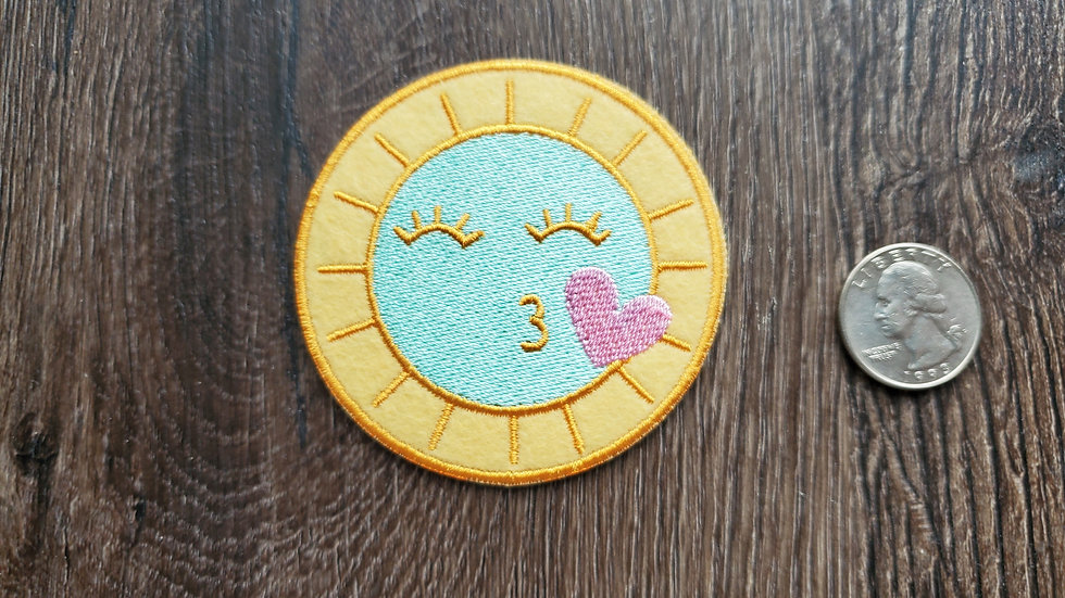 Kissing Sun Emoji Iron On Patch
