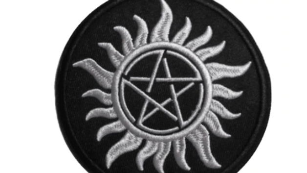 Pentagram | Black and White Iron On Patch