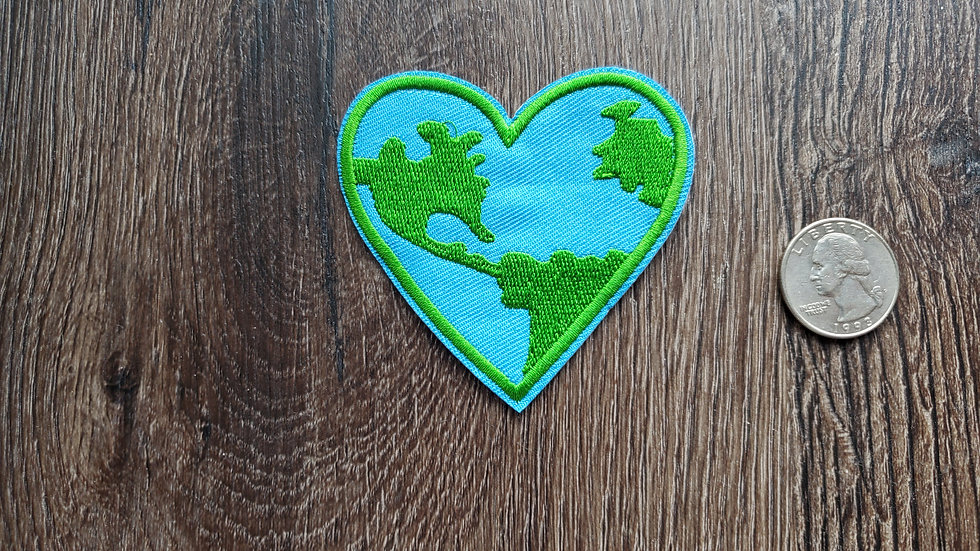 Earth | Heart Iron On Patch