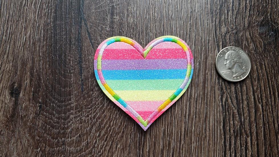 Rainbow Glitter Heart Iron On Patch