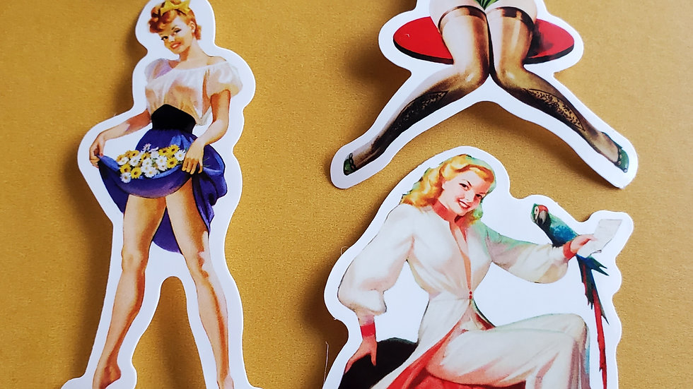 Pinup Girl Stickers & Earrings Set
