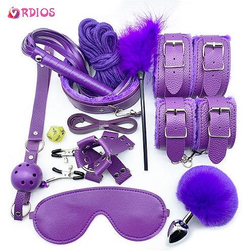 lila Erotic Toys BDSM Sex Bondage Set Handcuffs Nipple Clamps Gag Whip