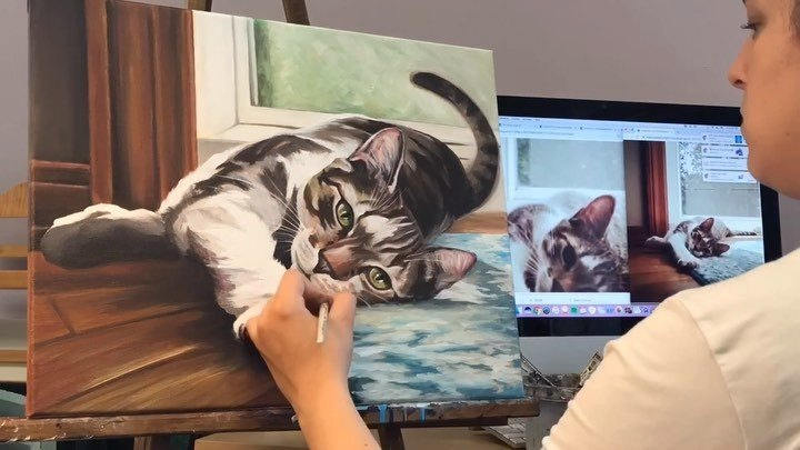 Meowy hours of painting, indeed! (Bonus: turn on your sound right meow. I dare you not to press paws.) 🐾🤣 . . #captionideas #righthererightmeow #timelapse #journey #dontstopbelieving #dontstopmeow #petportrait #catsofinstagram #catpainting #speedpain