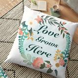 """""""Love Grows Here"""" Floor Pillow"""