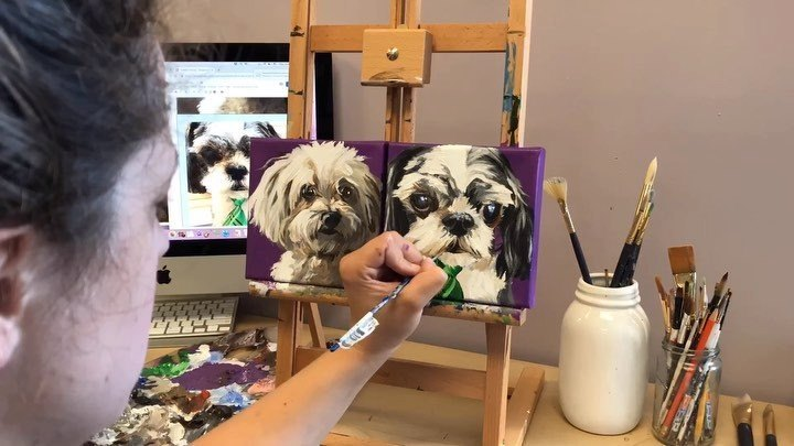 "This was my job today: A pair of two 6""x6"" pet portraits with a yummy, grape background! These sibling pooches, named K-Lee and Tyke, definitely steal the prize for ""commission with the most character!"" I've never met them but I almost feel like I ha"