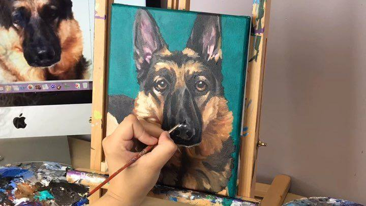 "Time lapse of ""Bear"" - custom acrylic pet portrait on an 8""x10"" canvas. Yes, I am alternating my really intense posts about gun-violence-concept-art with adorable pet portraits, because activism is tiring, and a good friend told me recently that you"