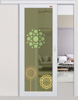 aluminium sliding door singapore | white aluminium frame with green design panel top hung sliding mechanism