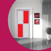 Toilet and bathroom door singapore | Classic Bifold Door white frame with white and red panel