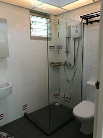 shower glass panel - framelesss tempered glass shower screen in Singapore