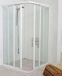 Showerscreen Singapore - Corner entry aluminium frame L-shaped showerscreen