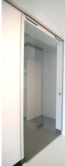 top hung sliding door singapore | 10 mm clear tempered glass sliding door in HDB kitchen