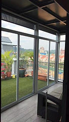 Aluminum silver frame sliding door with