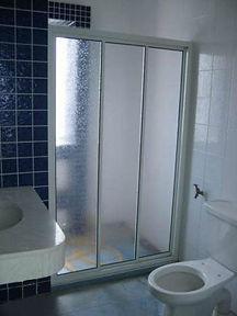 Aluminium frame showerscreen with acrylic panel