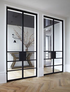 double panel swing door with glass panel
