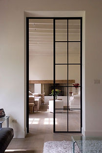Mild steel glass door swing with clear glass