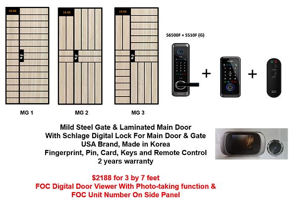 Mild Steel Gate & Laminated Main Door With Schlage Digital Lock at $2188