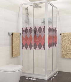 acrylic shower screen Singapore with red diamond design panel - corner entry red design shower screen