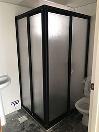 L shaped black colour aluminum frame showerscreen with acrylic panel