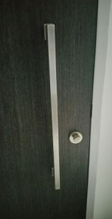 Main door with long handle bar that may not be able to install Yale 4110 digital lock