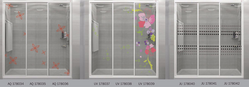 design panel aluminium shower screen Singapore floral design