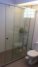 1 fix, 1 slide frameless tempered glass showerscreen Singapore - shower screens