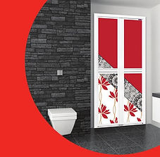 Premium Toilet Door Singapore | Bathroom Door Singapore | Red flower Bifold Door Singapore