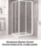 acrylic shower screen Singapore - corner entry shower screen - 2 fix, 2 slide pane