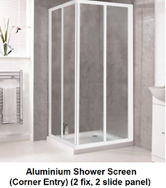 acrylic shower screen Singapore - corner entry shower screen - 2 fix, 2 slide pane