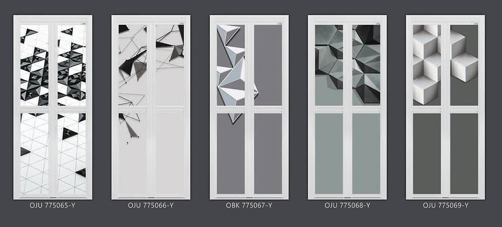 Grey Geometric Bifold Door Design For Singapore Home | Bathroom door Singapore